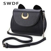 cdea3588004a SWDF Лето Сейлор Мун Женская сумочка черный Luna Cat Форма цепи сумка из  искусственной кожи для