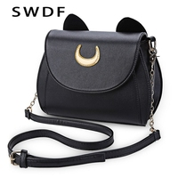 SWDF Summer Sailor Moon Ladies Handbag Black Luna Cat Shape Chain Shoulder Bag PU Leather Women