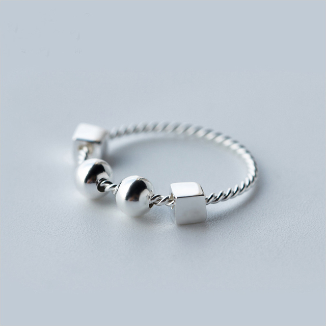 925 Sterling Silver Fidget Ring Pendant Worry Beads For Autism Adhd Stress Relief