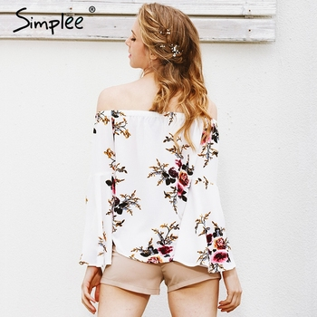 Simplee Off shoulder chiffon blouse 1