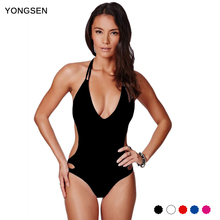 YONGSEN 2017 Bikini New Arrival European Pure Siamese Swimsuit Sexy Strap Backless Women Thin Slim Swimsuit Suit For