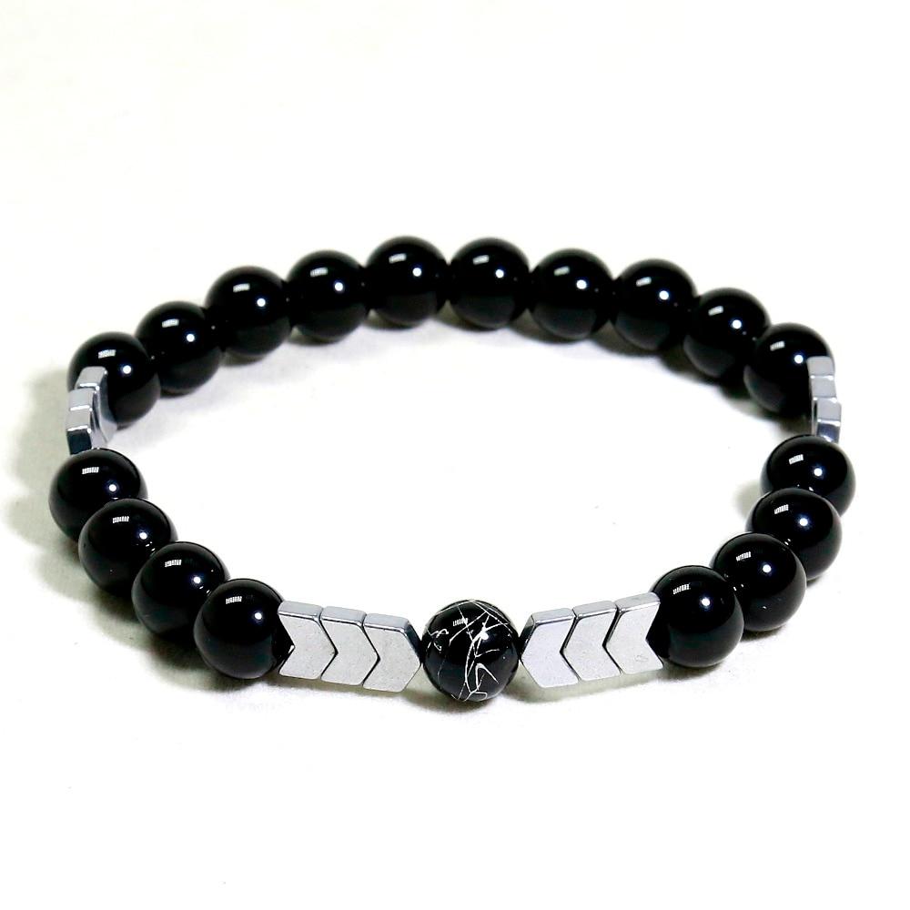 Unisex Natural Stone Hematite Men Bracelet Hand Work Black Onyx Beaded Bracelets Strand Bracelets Jewelry For Men Jewelry Gift