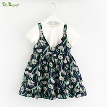 DoDower Summer time Children Ladies Garments Units T-shirt+Floral Costume Outfits Ladies Bohemian Seaside Put on Fits Toddler Ladies Clothes Units