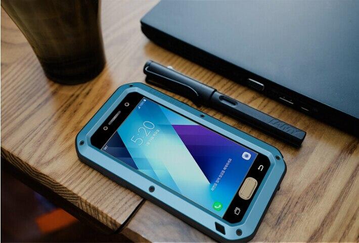 imágenes para AMOR MEI Metal De Aluminio Cubierta de la Caja Para Samsung Galaxy A3 2017 A5 2017 Poderosa Armadura Exterior y Contra la Luz Azul de Vidrio Templado