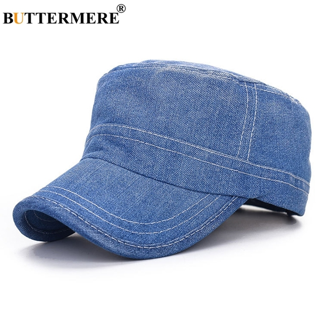 BUTTERMERE Women Military Hats Denim Cap Navy Blue Army Caps For Men  Adjustable Summer Casual Vintage Sailor Flat Top Cap aabbe3c8ca