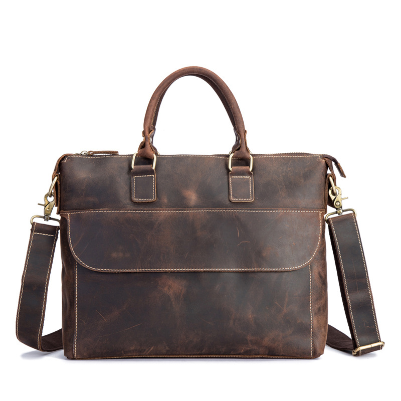 Luxury Pure Handmade Natural Crazy Horse Leather Men Handbags Vintage Genuine Leather Men's Briefcase