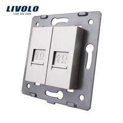 Fabricação Livolo, A Base De Soquete/Tomada/Ficha Para DIY Produto, 2 Gangues Tomada para Computador VL-C7-2C-11