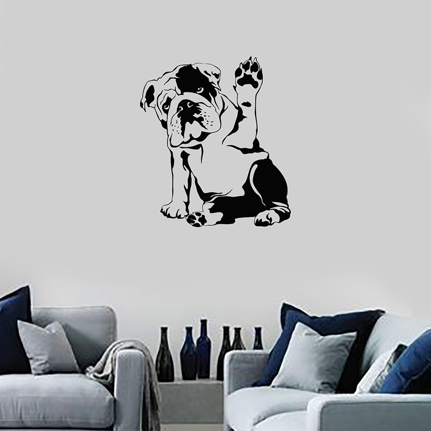 Lazy Bulldog Cute Dog Art Wall Sticker for Home DecorPet Puppy Wall Decal