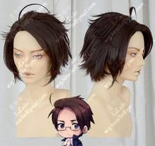 Axis powers hetalia áustria roderich edelstein café curto marrom estilo resistente ao calor do cabelo cosplay peruca + peruca livre