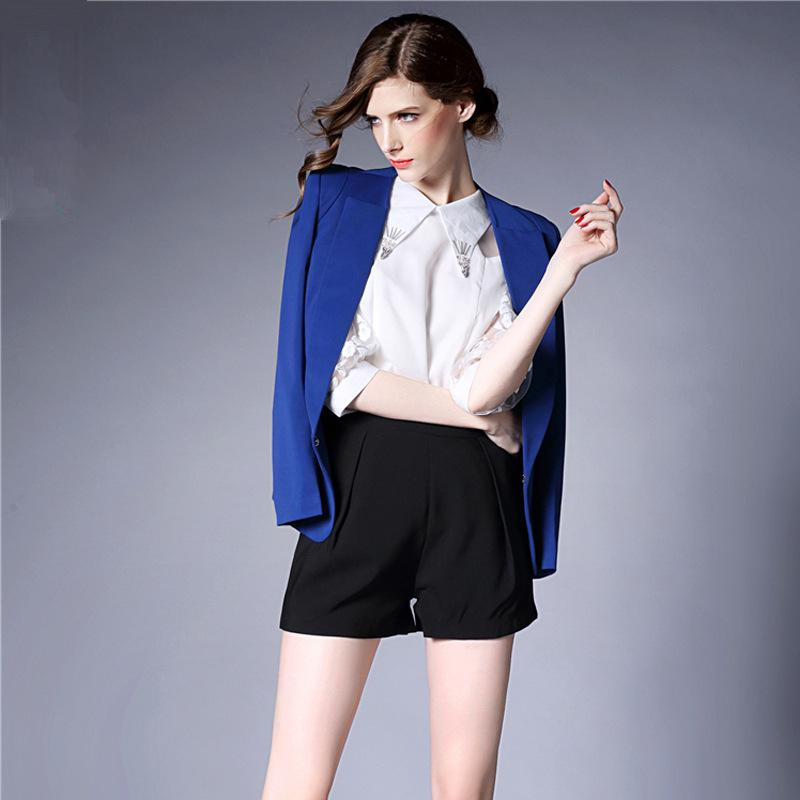 womens black blazer woman short blue jacket spring and autumn