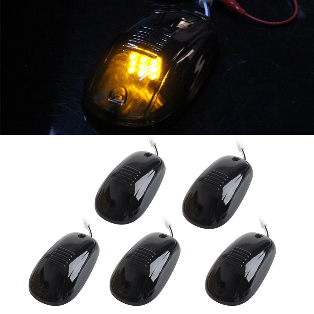 Hot 5Pcs Lights Marker 9 LED Car Roof Cab Smoked Lamp Amber For Truck SUV 12V 6W