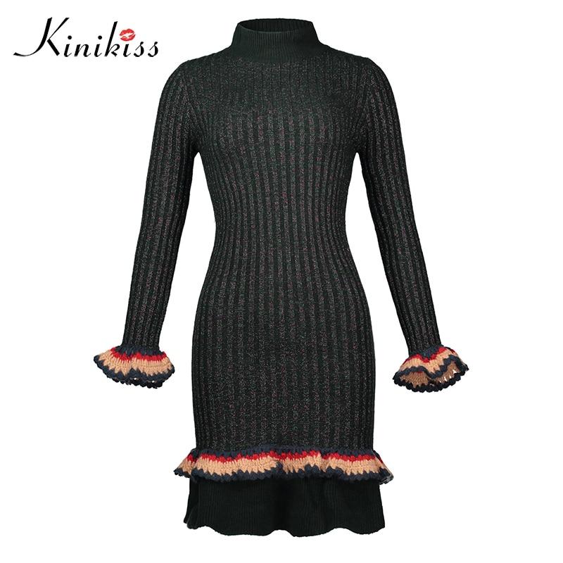 Kinikiss Women Green Knitted Dress Elegant Blue Shine Ruffle Patchwork Dress Fashion Long Sleeve Slim Bodycon Sweater Dress