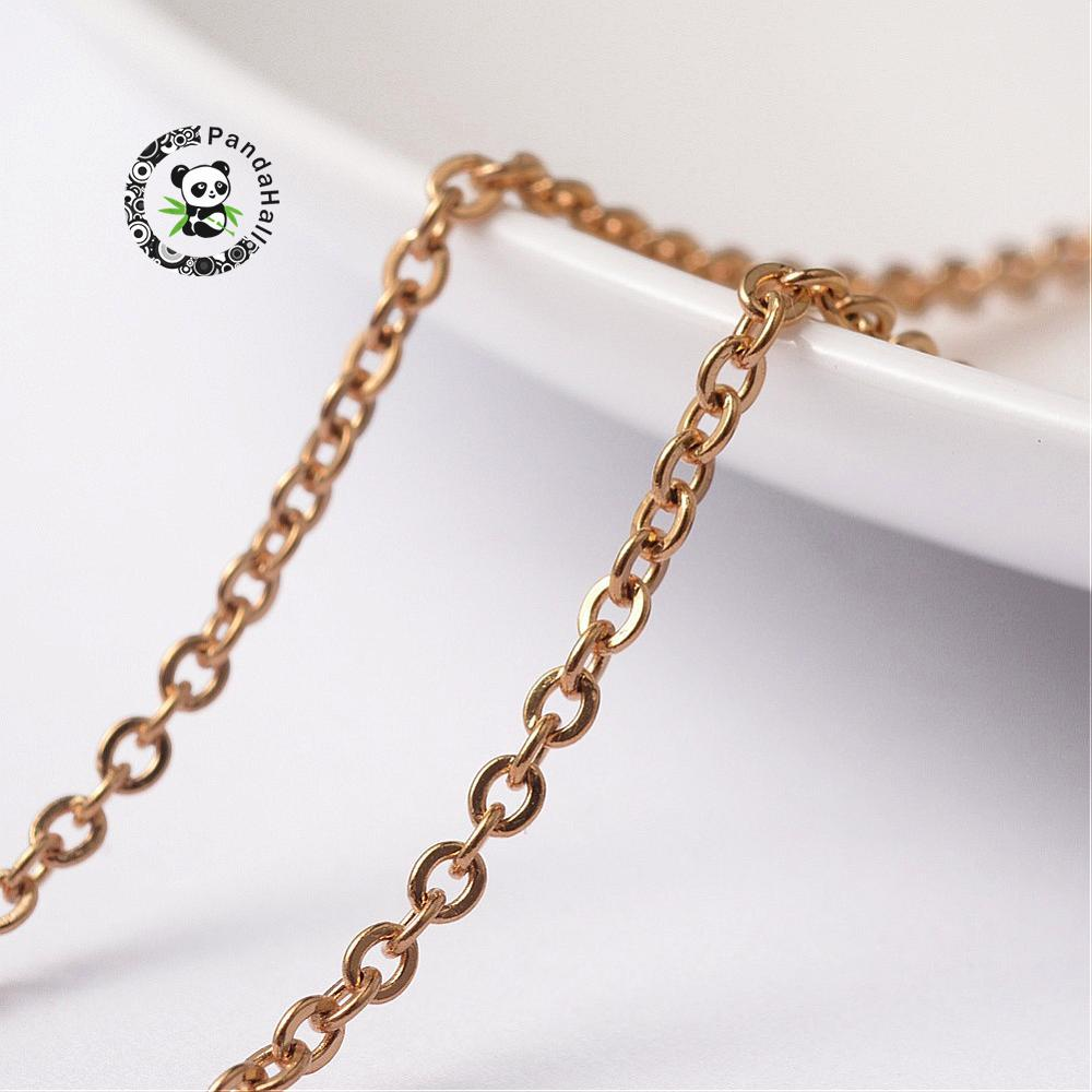 304 Stainless Steel Cross Chains, Golden, 2.5x2x0.5mm; about 25m/roll