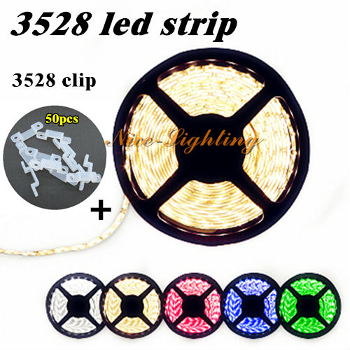 Best Price 5meter/lot SMD 3528 Flexible LED Strip 12V 60LED/M White Warm Yellow Red Green Blue Light Stripe + 50pcs Silicon Clip