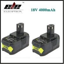 High Capacity 2x P108 18V 4000mAh Li Ion For Ryobi RB18L40 P300 P400 Rechargeable Power Tool