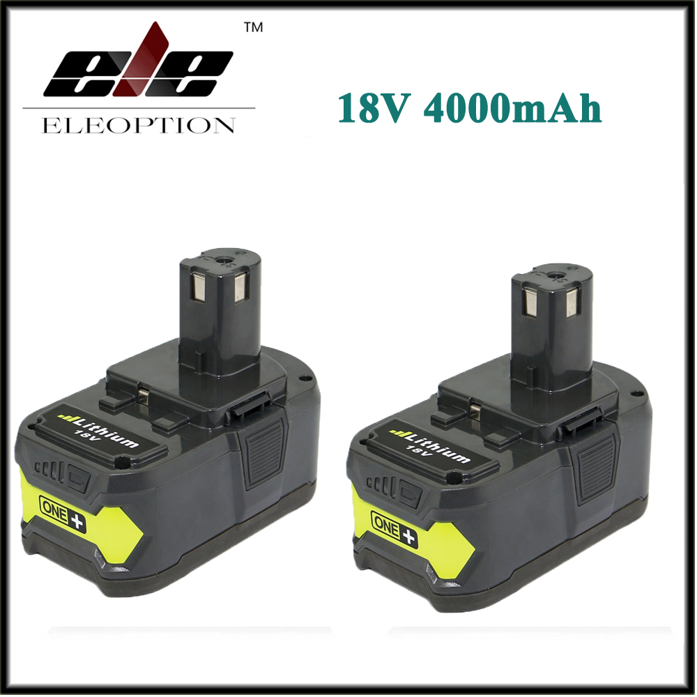 High Capacity 2x P108 18V 4000mAh Li Ion For Ryobi RB18L40 P300 P400 Rechargeable font b