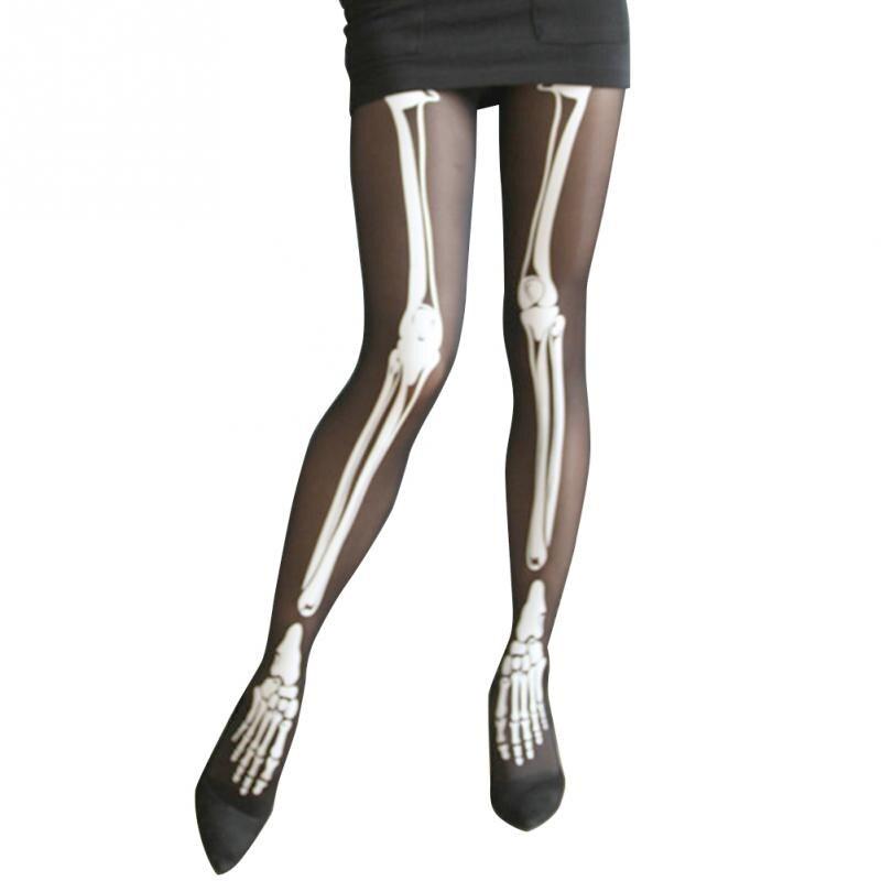 halloween skeleton bone printed skull tights pantyhose punk women stocking nightclubs bar stockingschina - Halloween Tights For Women