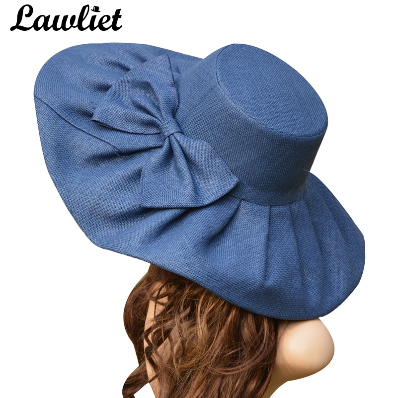 Stort Linen Sun Hat Kvinner Kentucky Derby Bred Brim Sol Hatt Wedding Church Beach Hatter For Women Floppy Ladies Hat Bow Detail A047