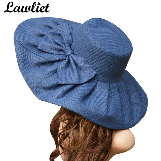 ab6e3501 Huge Linen Sun Hat Women Kentucky Derby Wide Brim Sun Hat Wedding Church Beach  Hats for Women Floppy Ladies Hat Bow Detail A047