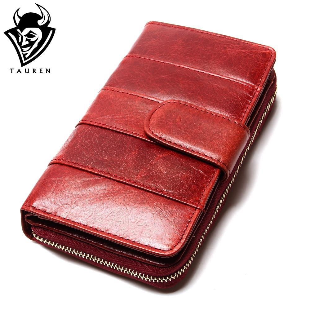 2017 New Style Layer Of Import Oil Wax Cowhide Medium Paragraph Buckle Leather Wallet Women s