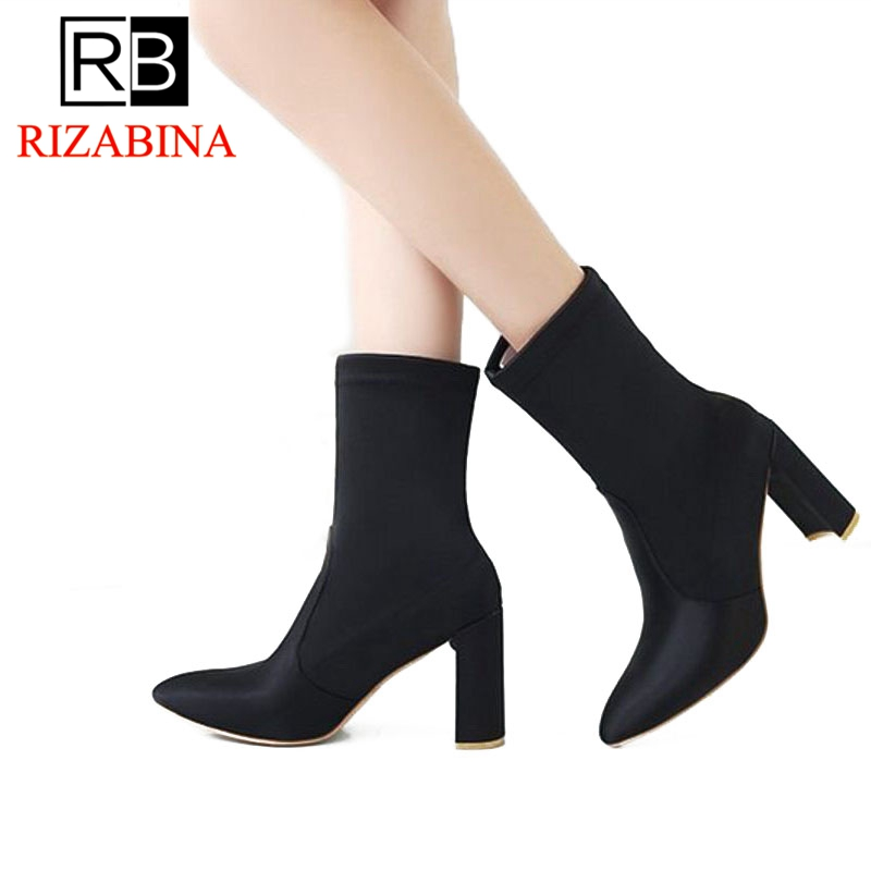 RizaBina Women High Heel Shoes Pointed Toe Fashion Show Boots Mid Calf Short Boots Woman Party Footwear Size 36-42