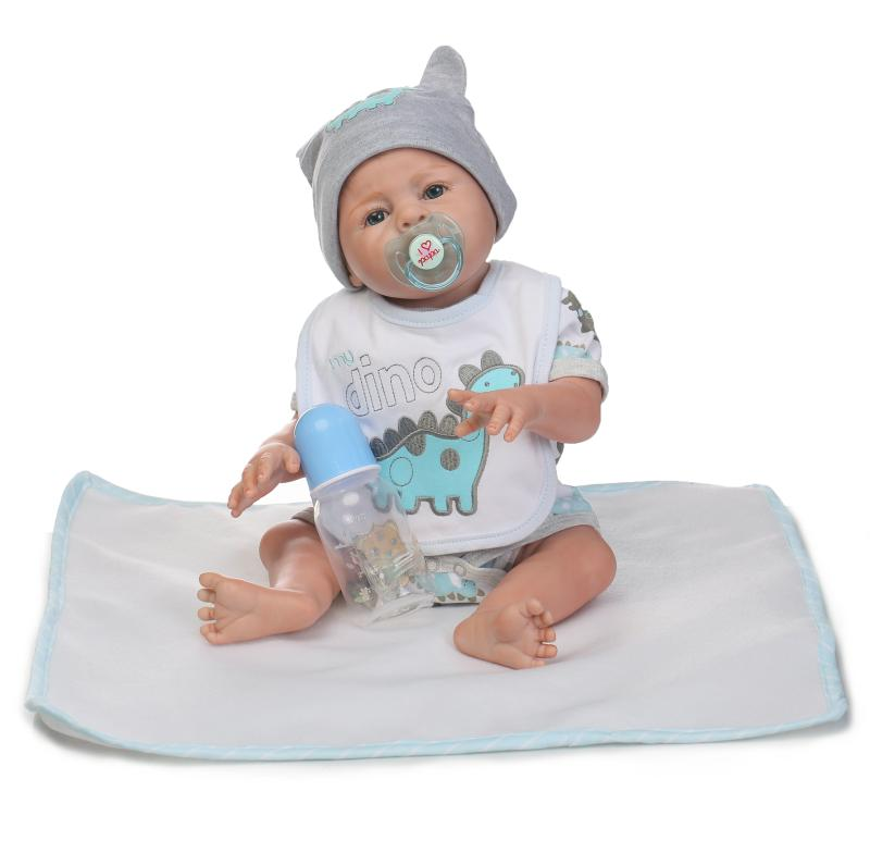 Nicery 20inch 45-50cm Bebe Reborn Doll Hard Silicone Boy Girl Toy Reborn Baby Doll Gift for Child White Blue Dino Hat Baby Doll [mmmaww] christmas costume clothes for 18 45cm american girl doll santa sets with hat for alexander doll baby girl gift toy