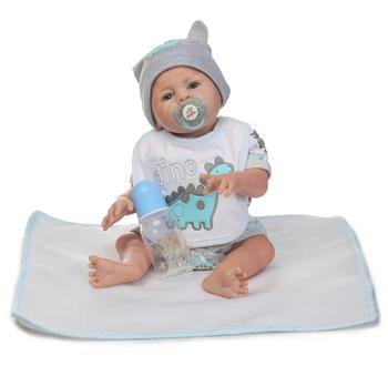 Nicery 20inch 45-50cm Bebe Reborn Doll Hard Silicone Boy Girl Toy Reborn Baby Doll Gift for Child White Blue Dino Hat Baby Doll