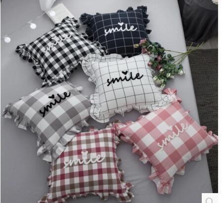 45x45cm 100% Cotton Lattice Pattern Classic Pillowcase Lace Ruffles Flounced Cushion Cover Sofa Lumbar Pillow Covers