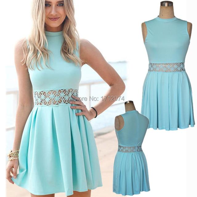 6c36d054a210 Cute Summer women dress light blue A line Sleeveless Slim Skater Dress Lace  Cut out turtleneck Short Casual Dress Lc773