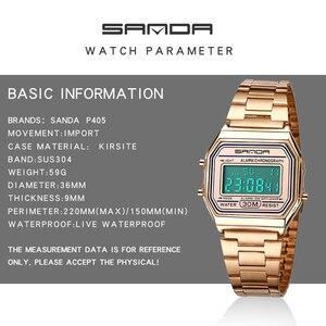 Image 4 - SANDA montre de sport pour hommes, en or et argent, numérique, Bracelet en acier inoxydable, étanche, collection LED