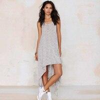 Summer dress 2016 moda feminina dress cinza asymmetric casual vestidos soltos mulheres roupas street wear plus size lj4435m
