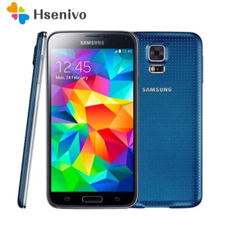 Originais Samsung Galaxy S5 I9600 G900A G900V G900F G900T G900H GPS Do Telefone Móvel WIFI 5.1 polegada 16MP Câmera GPS S5 smartphones