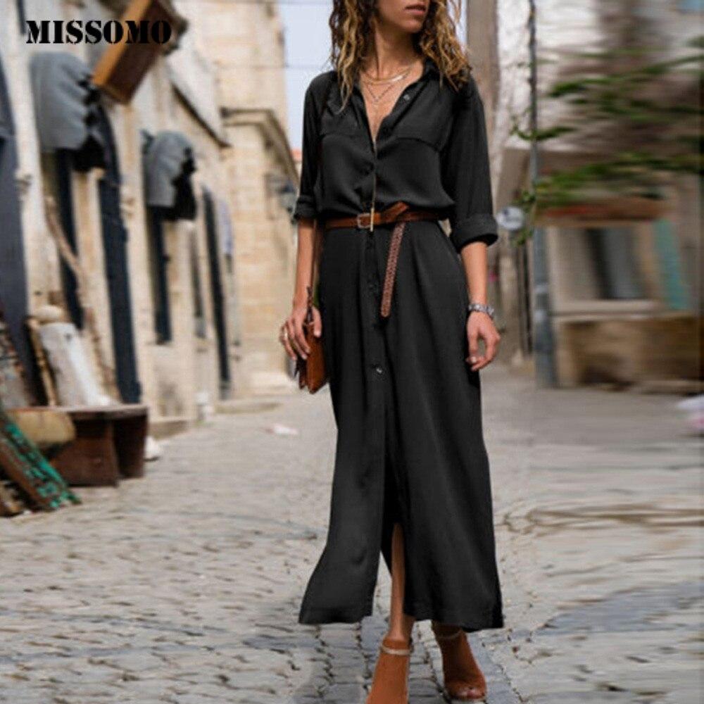 MISSOMO Women Dress Long Sleeve Casual Loose V-Neck Button Split Hem Long Dress Women Shirt Dress girl clothes vestidos vintage