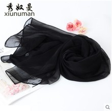 Fashion Pure Silk Scarf Female Spring and Autumn Long Chiffon Seaside Beach Shawl Sunscreen
