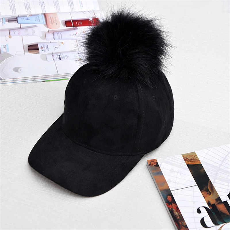 冬ポンポンピンクスエード野球帽女性の秋のカジュアルストリート黒キャップ 2019 エレガントな女性の帽子キャップ
