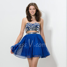 Royal Blue Two-Pieces Cocktail Dresses 2016 Sweetheart Silver Sequins Beaded Top Sexy Banquet Dresses Formal Party Dresses