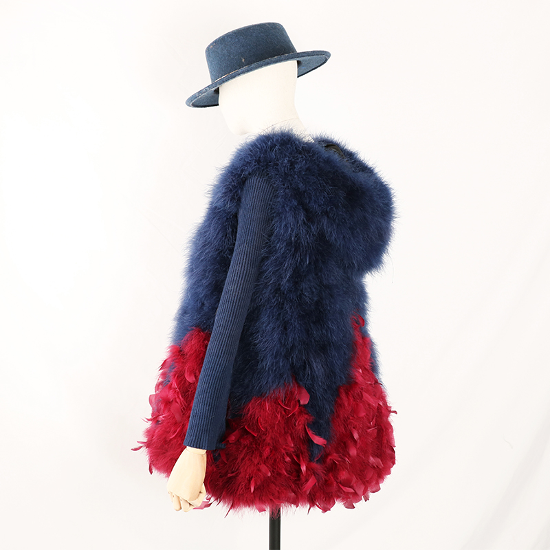 2018 New Real Ostrich Fur Vest Women Knitted Ostrich Fur Jacket With Hat Fur With Feather Coat Gradient Color Skirt Hem F1006