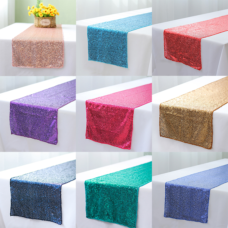 10pcs lot multicolor 11 colors 30x180cm 30x275cm sequin table runner for Party table cloth Weddings Decoration