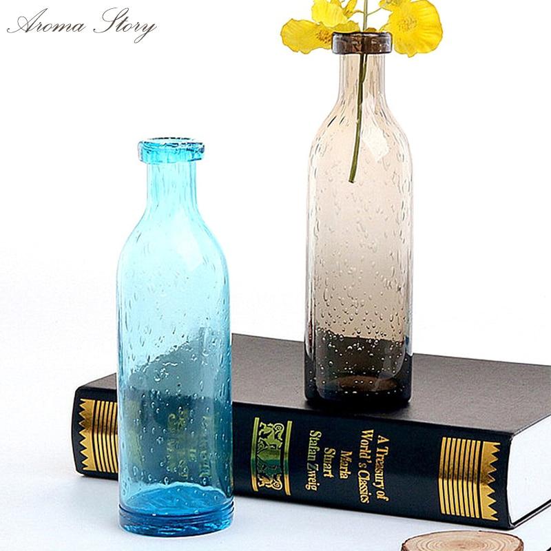 Fresh Style Baroque Graypurpleblue Flower Glass Vase Vintage
