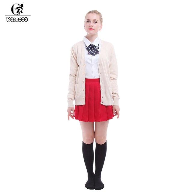 Japanese School Girl Uniform ROLECOS Beige Cardigans con Falda Roja Ocasional Harajuku Estilo Outfit Sexy School Girl Uniform