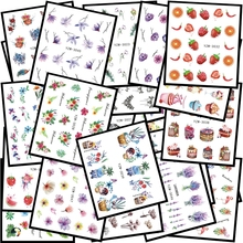 48PCS Popular Black Sticker Nail Art Necklace unicorn Jewelry Cat Butterfly Pendant Manicure Tips Nail Water Transfer Decals