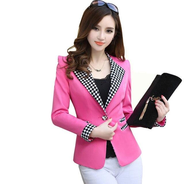 36a98f6faedb1 Ladies Blazers and Coats Plus Size Office Wear Work Long Sleeve White Plaid  Slim Small Suit Blazer Jackets Women Coat Female
