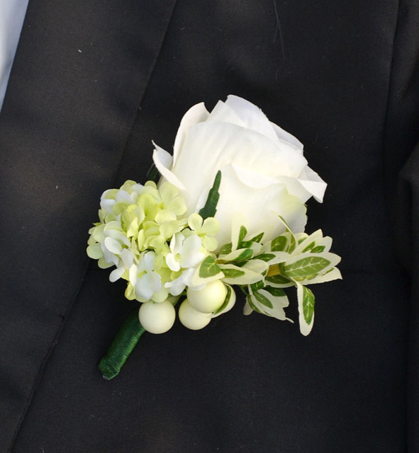 Handmade Corsages Groom Boutonniere Artificial Flower Onhole White Green Silk Rose Corsage Wedding Supplies Man Suit