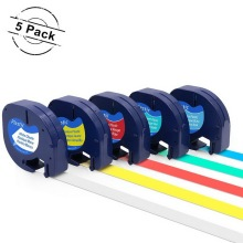 5 Pack Mixed Color Compatible DYMO LetraTag 91331 91332 91333 91334 91335 Label Tape, 12mm x 4m for Dymo LetraTag Label Makers