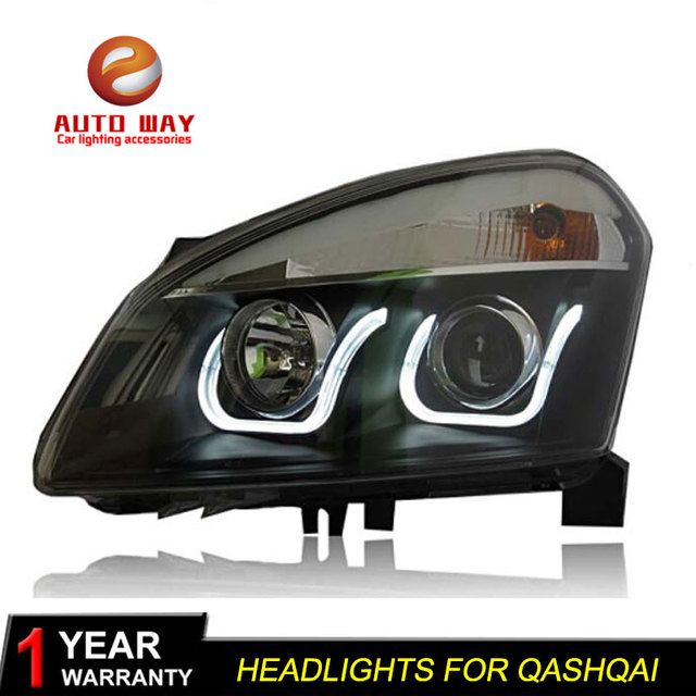 Car Styling Head Lamp case for Nissan Qashqai 2008-12 Headlights LED Headlight DRL Lens Double Beam Bi-Xenon HID car Accessories 1