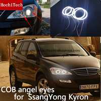 Pour SsangYong Kyron 2007 2008 2009 2010 COB Led lumière de jour blanc Halo Cob Led ange yeux anneau sans erreur Ultra lumineux