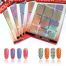 12 tips/sheet DIY Nail Art Decoration Sticker 24 kinds template selection vinyls nail art manicure stencil template decals