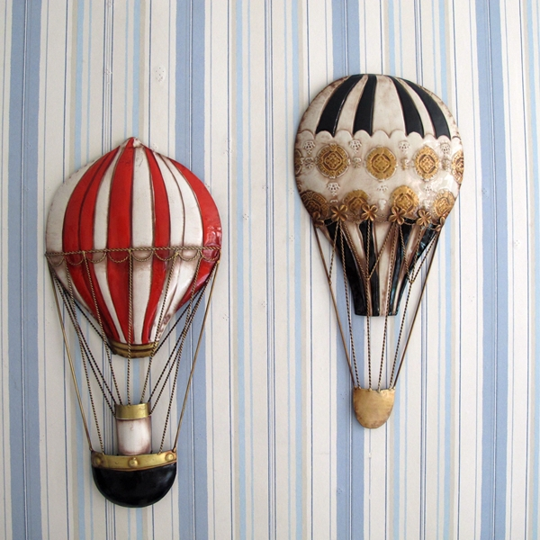 American country decorative wall art , wrought iron vintage hot air balloon  for the old mural