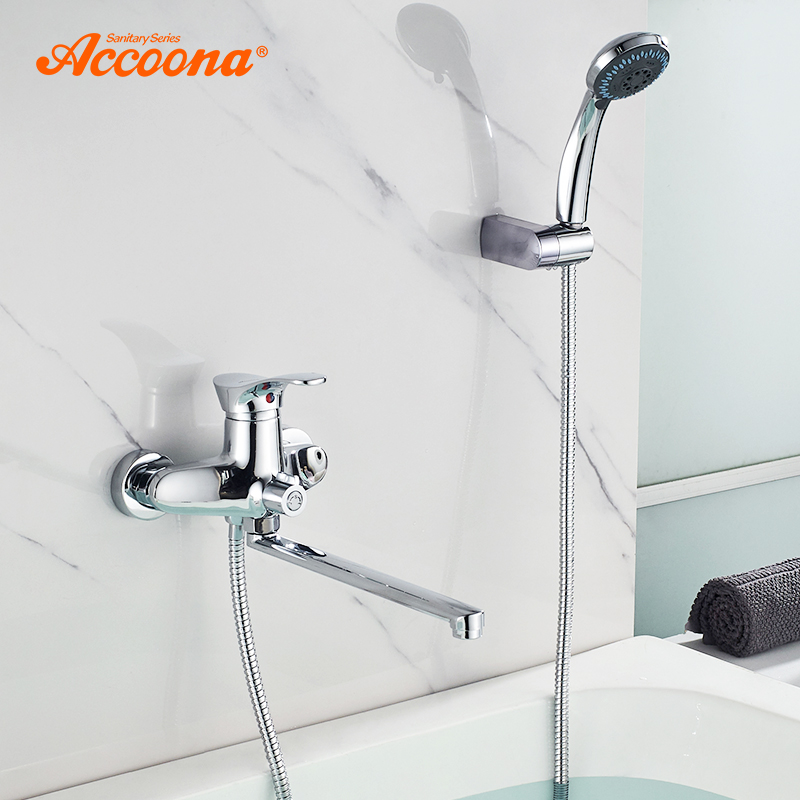 Accoona Bathtub Faucet Outlet Pipe Chrome with Shower Head Bathroom Cold and Hot Tap Shower Set Bathtub Faucets A7105Accoona Bathtub Faucet Outlet Pipe Chrome with Shower Head Bathroom Cold and Hot Tap Shower Set Bathtub Faucets A7105
