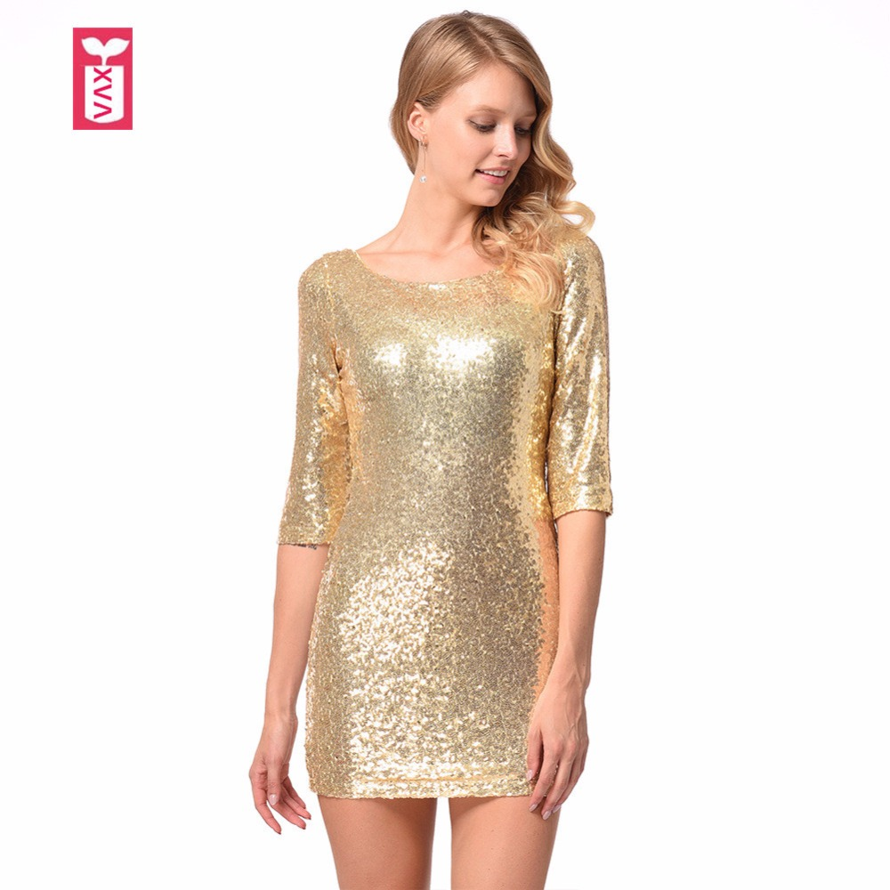 Drop Ship Luxury 2018 Bling Bling Gold Sequins Women Slim Racerback Brand Party Sexy Club Minidress Noble Banquet Dresses